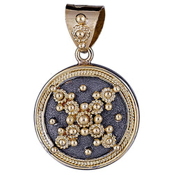 18 Karat Gold Byzantine Pendant With Granulation & Rhodium