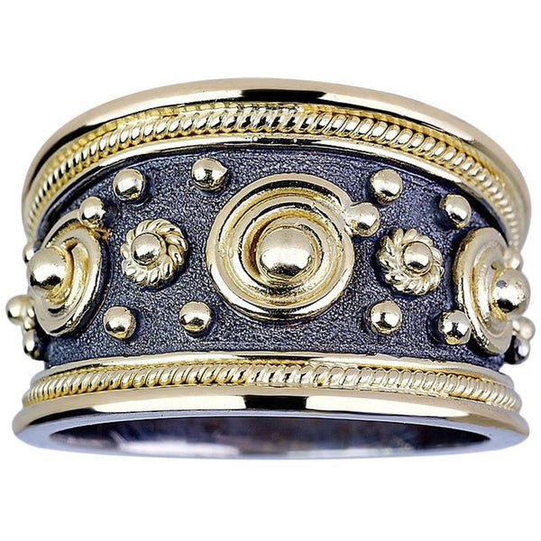 18 Karat White and Yellow Gold Byzantine Ring