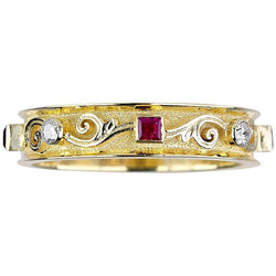 18 Karat Yellow Gold Thin Diamond Ruby Handmade Band Ring