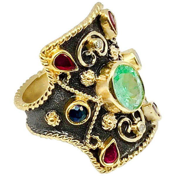 18 Karat Gold Emerald Ruby Sapphire and Black Rhodium Ring