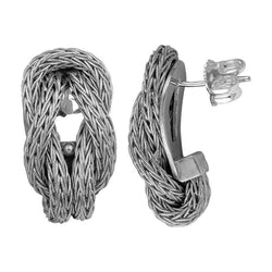18 Karat White Gold Rope Earrings with Hercules Knot