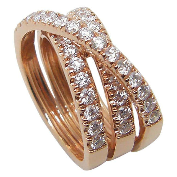18 Karat Rose Gold Brilliant Cut White Diamond Spiral Ring