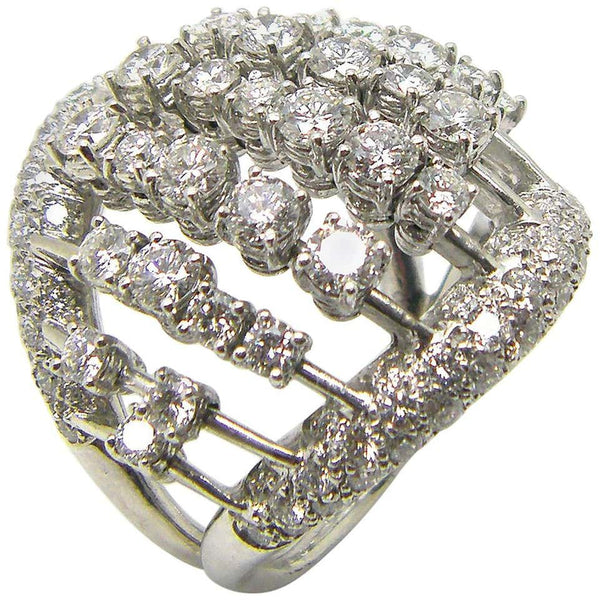 18 Karat White Gold Multiple Loose Diamond Wide Dome Ring