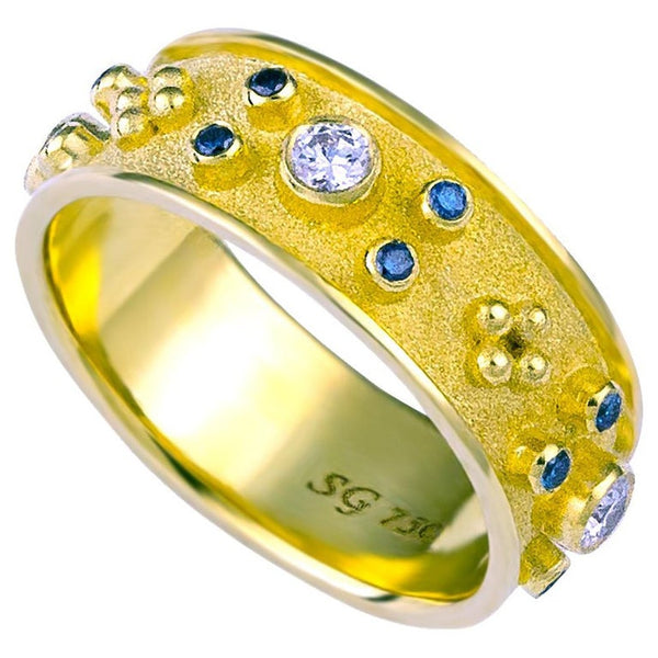 18 Karat Yellow Blue and White Diamond Band Ring