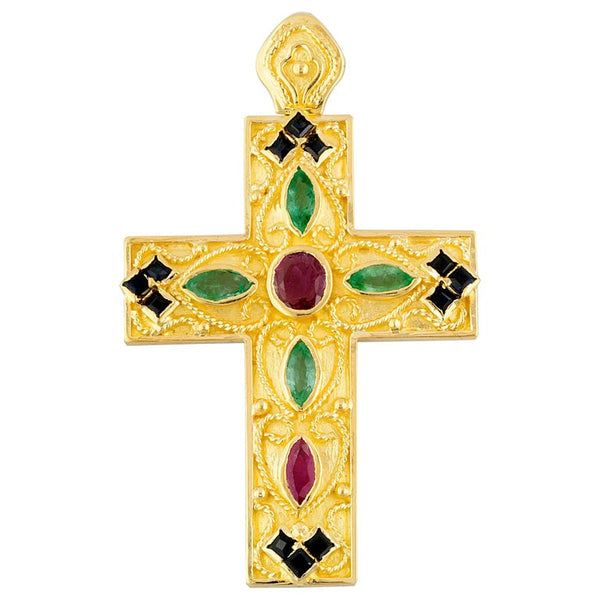 18 Karat Gold Ruby, Sapphire and Emerald Byzantine Cross