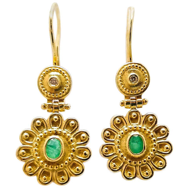 18 Karat Yellow Gold Diamond Emerald Floral Drop Earrings