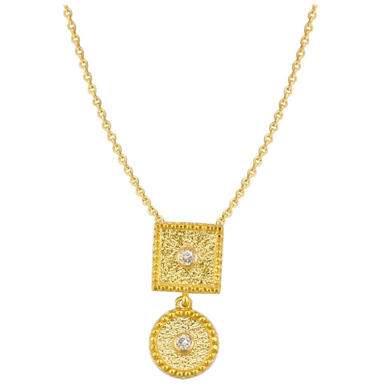 18 Karat Yellow Gold Small Diamond Pendant With Granulation