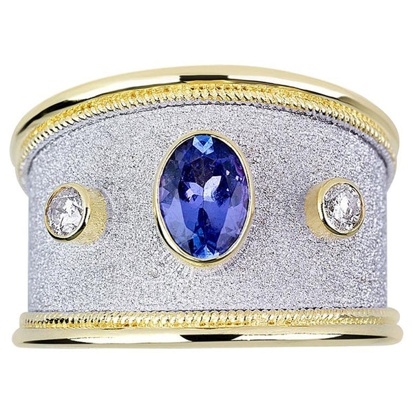18 Karat White Gold Tanzanite and Diamond Band Ring