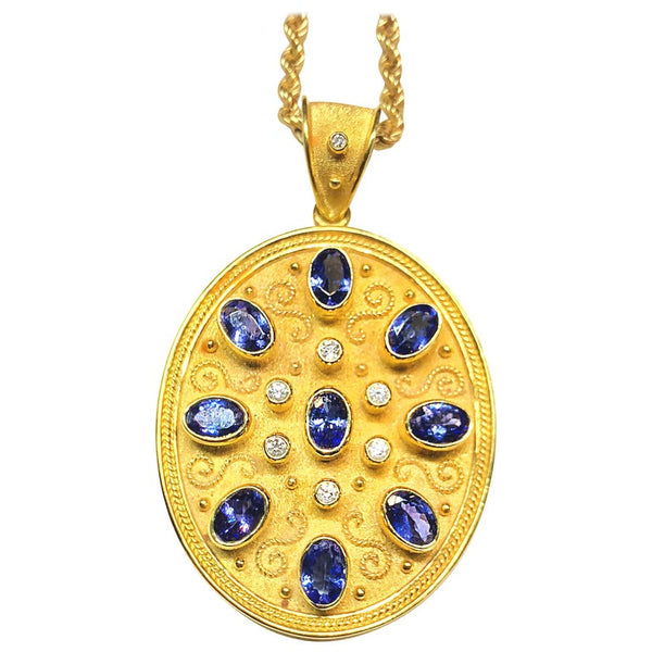 18 Karat Yellow Gold Tanzanite and Diamond Necklace Pendant