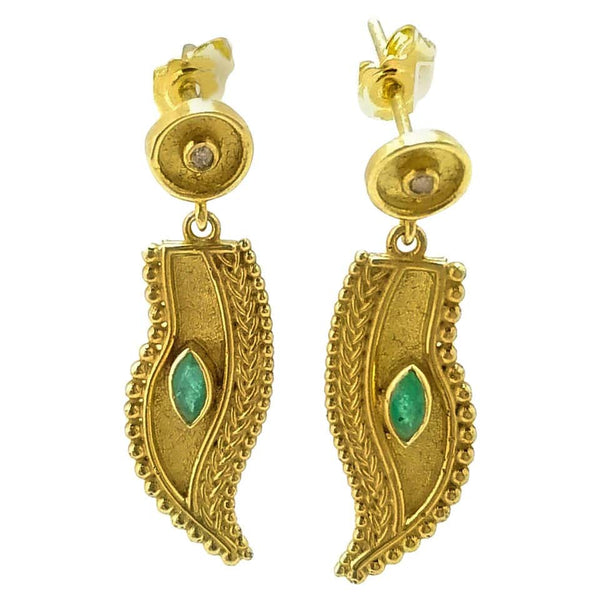 18 Karat Yellow Gold Diamond Emerald Feather Drop Earrings