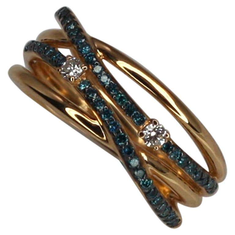 Collections 18 Karat Rose Gold Blue and White Diamond Band Ring