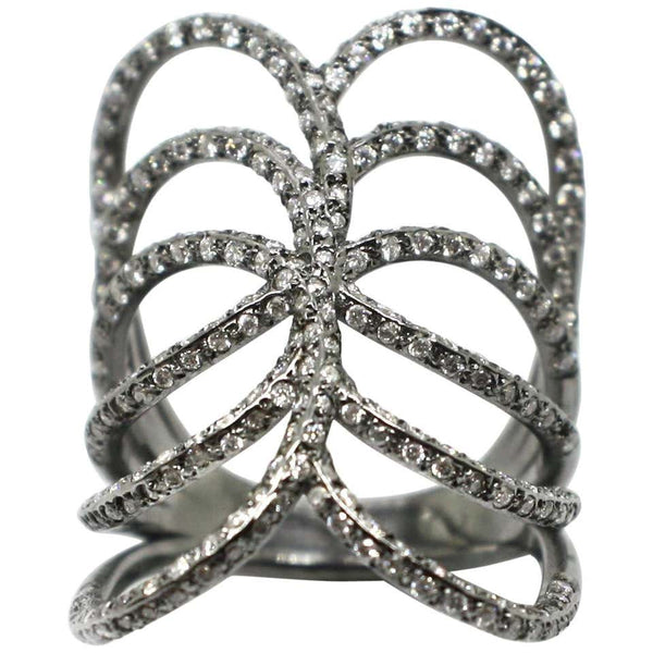 18 Karat White Gold Black Rhodium White Diamond Spiral Ring