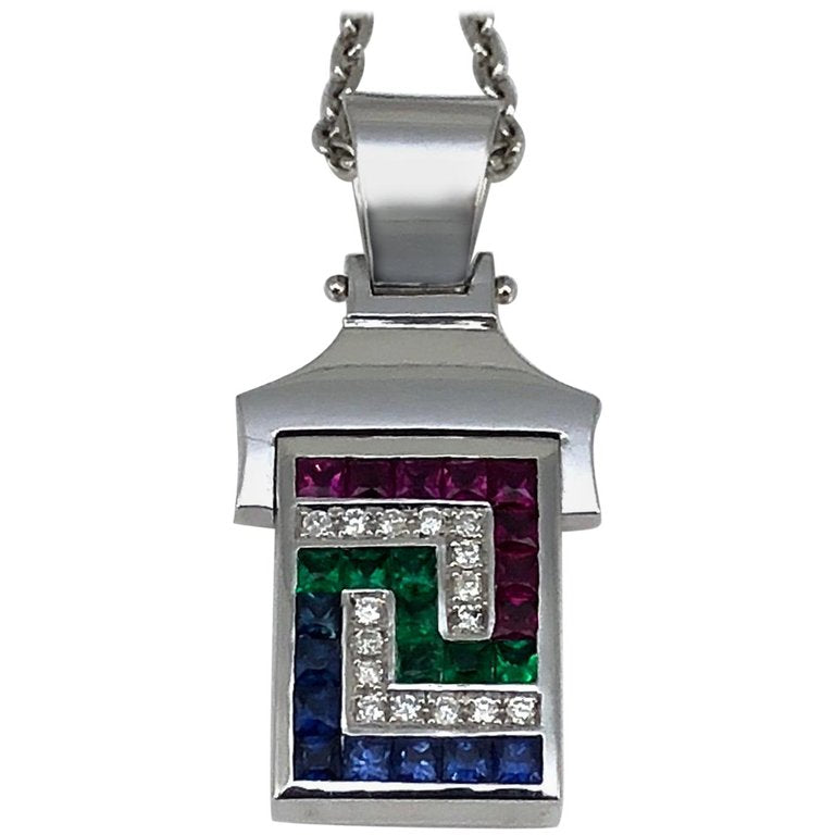 18 Karat White Gold Diamond Multicolor Pendant Necklace