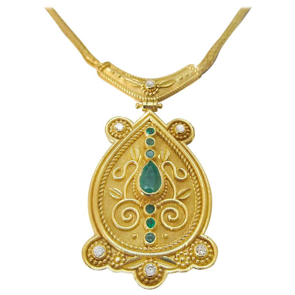 18 Karat Yellow Gold Diamond Emerald Drop Pendant Necklace