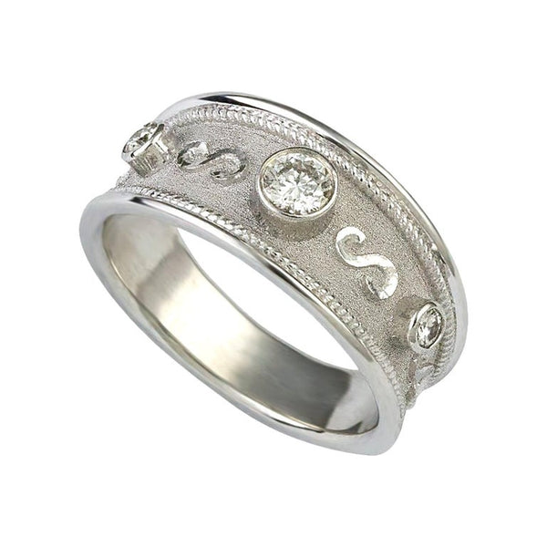18 Karat White Gold Diamond Ring with Granulation