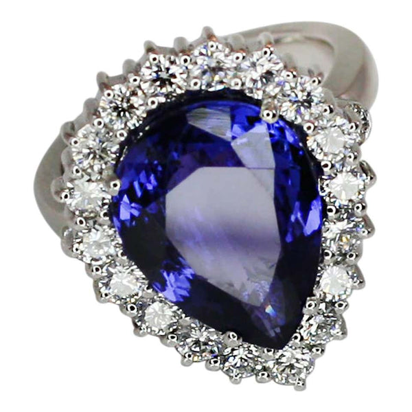 18 Karat White Gold Pear Cut Tanzanite and Diamond Ring