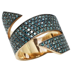 18 Karat Rose Gold Blue Diamond Black Rhodium Band Ring