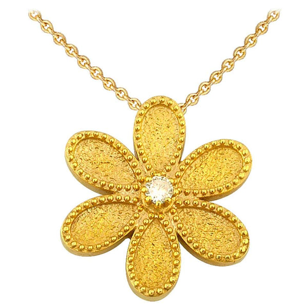 18 Karat Yellow Gold Diamond Flower Pendant with Chain