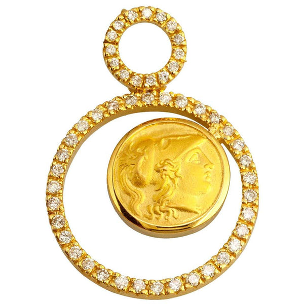 18 Karat Yellow Gold Diamonds Athena Coin Pendant Necklace