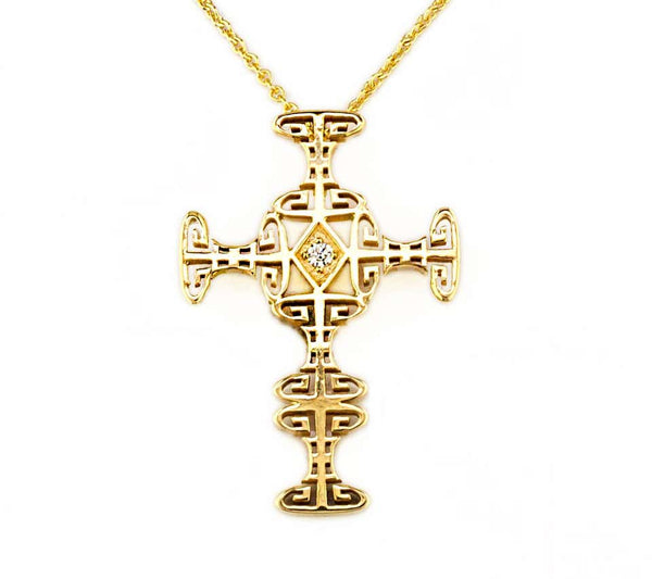 18 Karat Yellow Gold Diamond Greek Key Cross with Chain