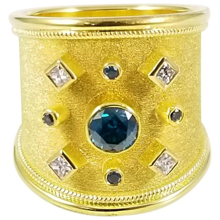 18 Karat Yellow Gold Blue and White Diamond Thick Band Ring
