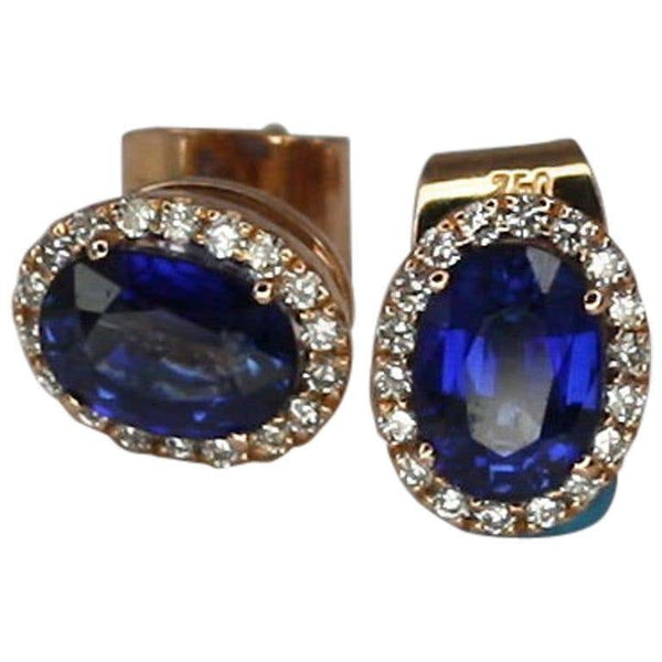 18 Karat Rose Gold Sapphire and Diamond Oval Stud Earrings
