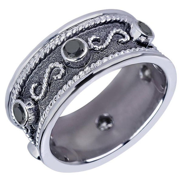 18 Karat White Gold Byzantine Ring With Black Diamonds