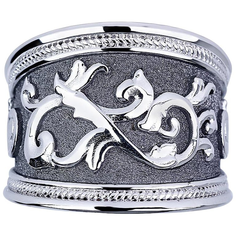 18 Karat White Gold and Black Rhodium Byzantine Ring