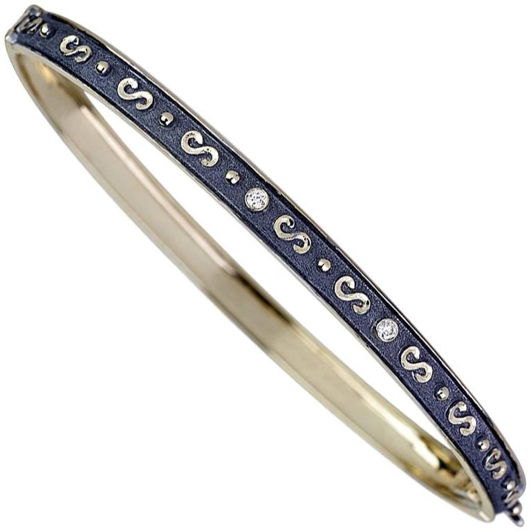 18 Karat yellow Gold Black Rhodium Bracelet with Diamonds