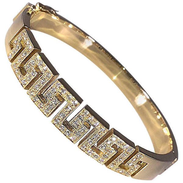 18 Karat Yellow Gold Diamond Bracelet the Greek Key Design