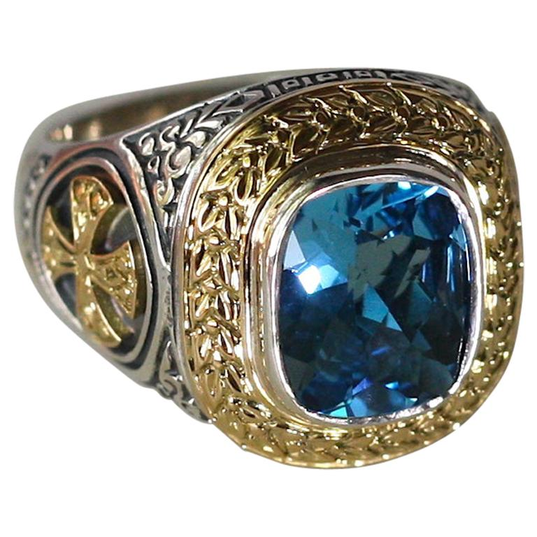 18 Karat Gold and Silver Cross Ring with Sky Blue Topaz