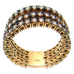 18 Karat Yellow Gold Three-Row Brown Diamond Band Ring