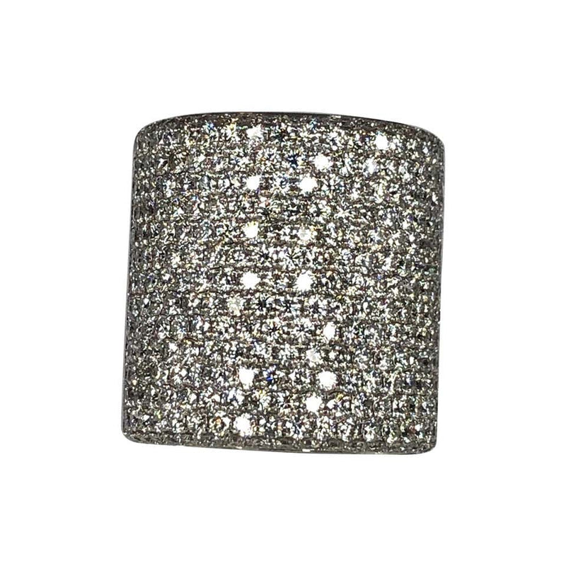 Wide Pave Diamond Ring in 18 Karat White Gold