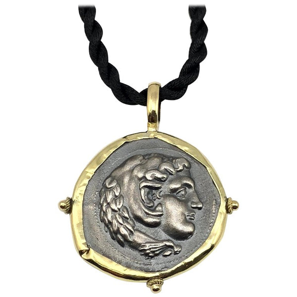 18 Karat Gold and Silver Coin Pendant Necklace Of Hercules