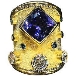18 Karat Yellow Gold Tanzanite and Diamond Thick Band Ring