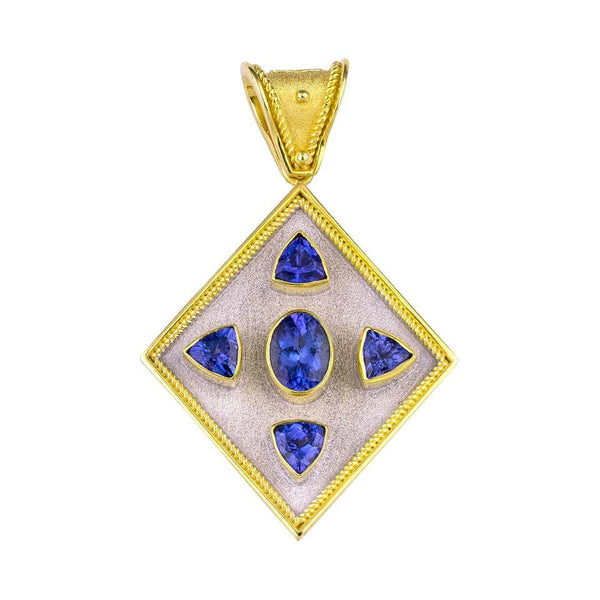 Reversible 18 Karat Gold Tanzanite and Diamond Coin Pendant