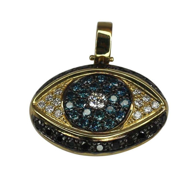 Mati Pendant Yellow Gold 18 Karat Blue Black White Diamonds