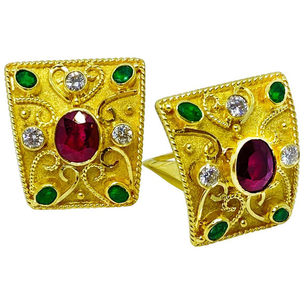 18 Karat Yellow Gold Diamond Ruby and Emerald Earrings