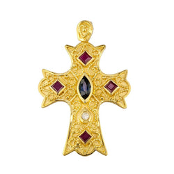 18 Karat Yellow Gold Diamond Cross with Sapphires and Rubys