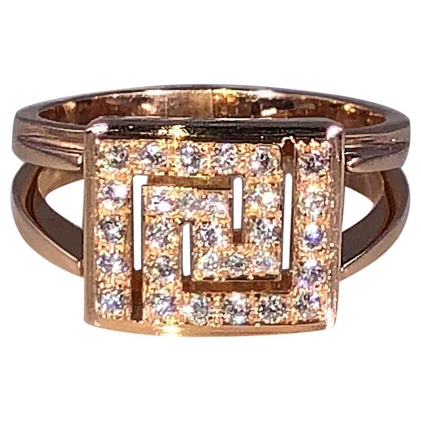 18 Karat Rose Gold Greek Key Design Ring with Diamonds
