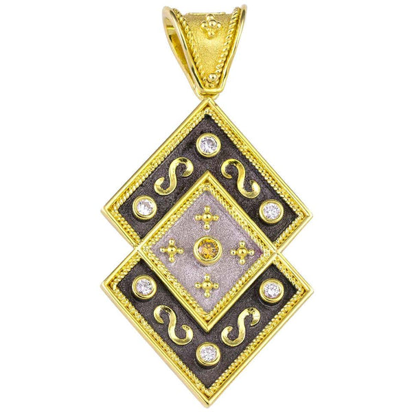 Reversible 18 Karat Gold Diamond and Coin Pendant