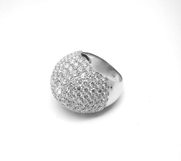 18 Karat White Gold Brilliant Cut Diamond Wide Dome Ring