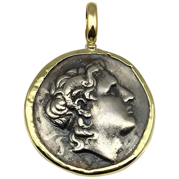 18 Karat Yellow Gold and Silver Coin Pendant of Alexandros