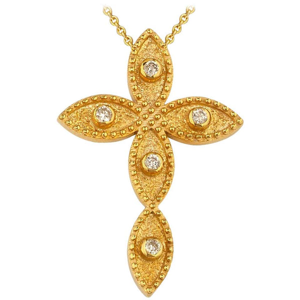 18 Karat Yellow Gold Diamond Byzantine Style Cross and Chain