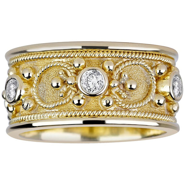 18 Karat Yellow Gold Diamond Band Ring with Granulation