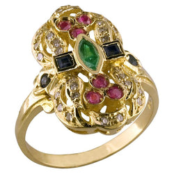 18 Karat Yellow Gold Byzantine Style Multicolour Gem Ring
