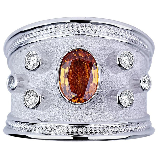 18 Karat White Gold Diamond Band Ring with Orange Sapphire