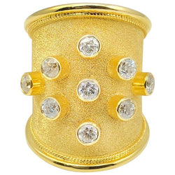 18 Karat Yellow Gold Thick Diamond Byzantine Wide Ring