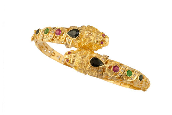 18 Karat Gold Diamond Multi-Color Lion Head Bangle Bracelet