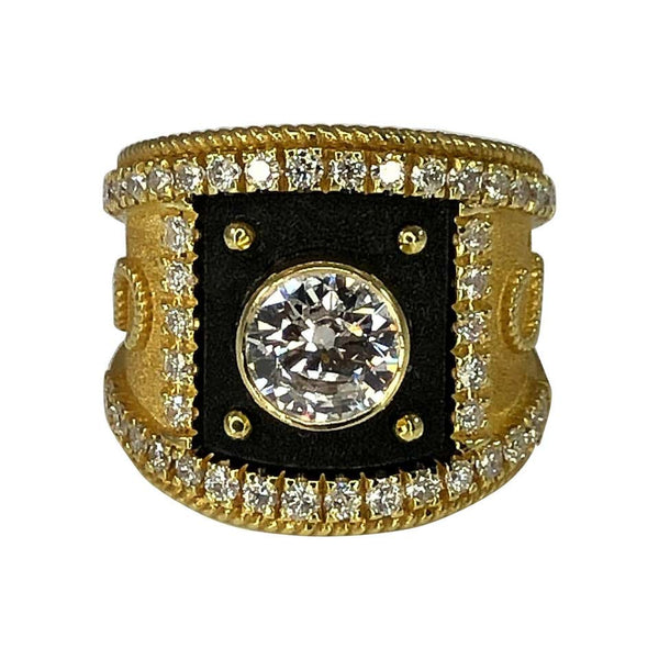 1.16 Carat Diamond Centre Ring in Gold and Black Rhodium